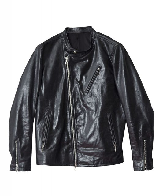 Leather Stand Collar Semi-W Riders Jacket